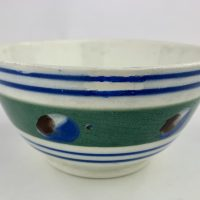 Antique Mocha Ware Cats Eye Pottery Bowl