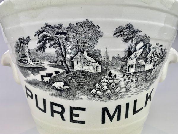 Rare Ironstone Pottery Farmyard Scene Pure Milk Pail