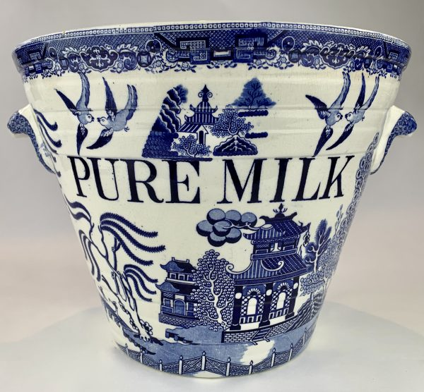 Antique Chinese Willow Pattern Blue & White Pottery Milk Pail