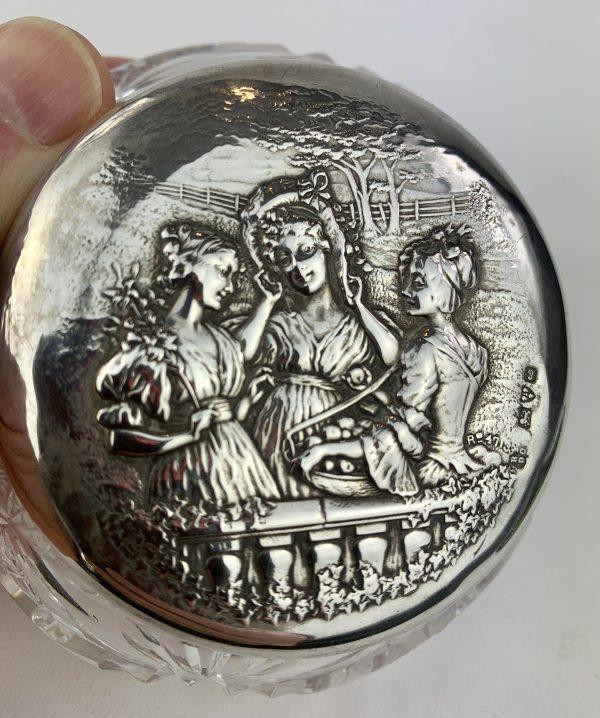 Antique Silver Cut Glass Boudoir Powder Puff Box