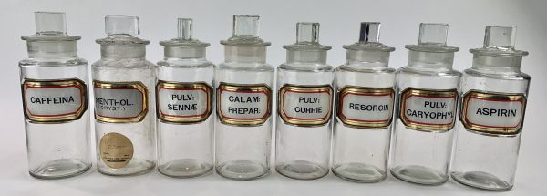 Antique Glass Small Apothecary Bottles x 8