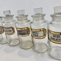 Antique Glass Apothecary Bottles x9