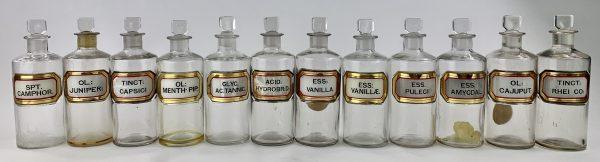 Antique Glass Pharmacy Bottles x 12