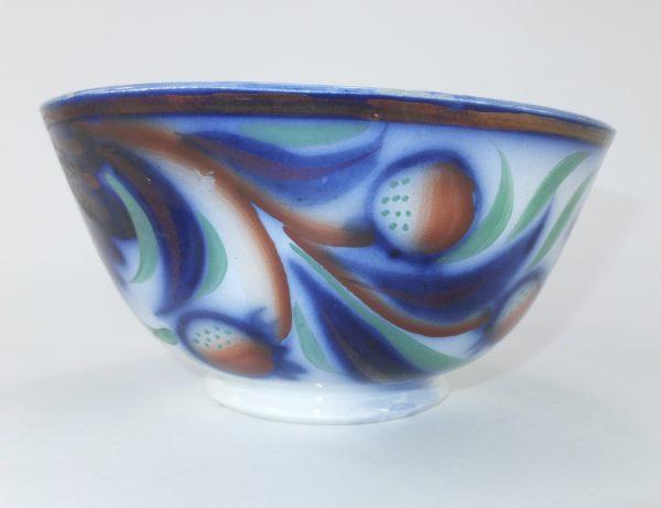 Antique Spongeware Flow Blue Pottery Bowl