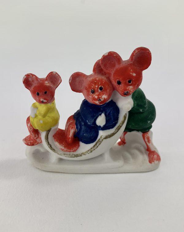 Antique Bisque Christmas Cake Decoration Mouses