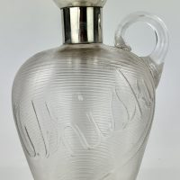 Antique Silver Top Whisky Cut Glass Decanter