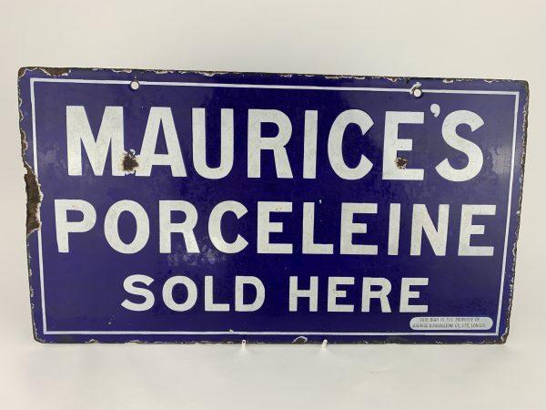 Maurice Advertising Enamel Porcelain Sign