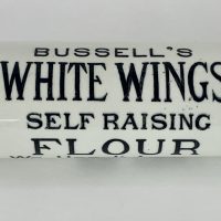 Rare Ironstone Pottery Rolling Pin Bussells Flour