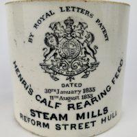 Henri,s Calf Rearing Feed Ironstone Pottery Pot Farming Veterinary Hull